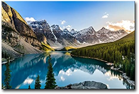 Amazon Com Colorado Wall Art Snow Mountain And Lake National Park Landscape Modern Artwork Painting Print On Canvas Framed Picture For Living Room Home Decoration Posters Prints
