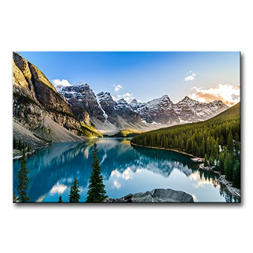 Nature Art Print Poster - Wall Art Decor Poster Painting On Canvas Print Pictures Moraine Lake and Mountain Range Sunset Canadian Rocky Mountains Landscape Mountain&Lake Framed Picture for Home Decoration Living Room Artwork