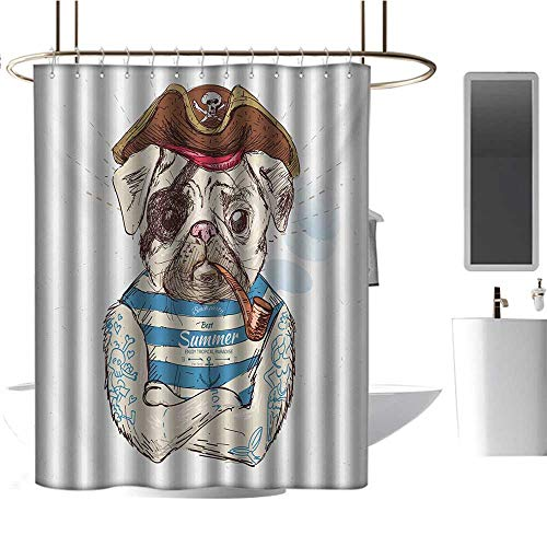 "TimBeve White Shower Curtain Pug,Pirate Pug Conqueror of The Seas Pipe Skulls and Bones Hat Striped Sleeveless T-Shirt,Brown Blue,for Bathroom Showers, Stalls and Bathtubs 72""x78"""