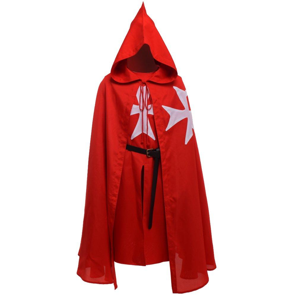 Blessume Médiéval Hospitalier Chevaliers Costume Tunique Avec Manteau & Ceinture Rouge