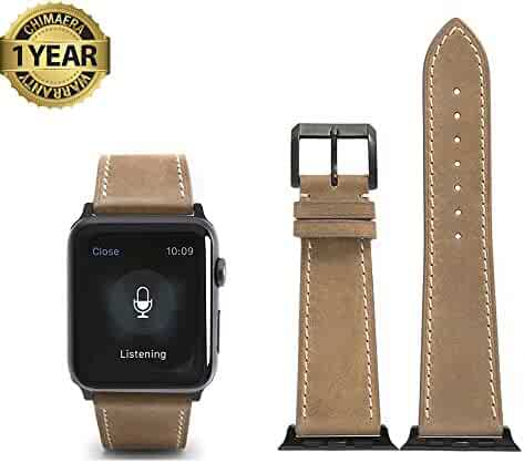 Apple Watch Band 42mm Genuine Calf Leather fit iWatch & Sport & Edition Series 1 Series 2 Super Soft Strap Classic Pin Buckle for Women and Men