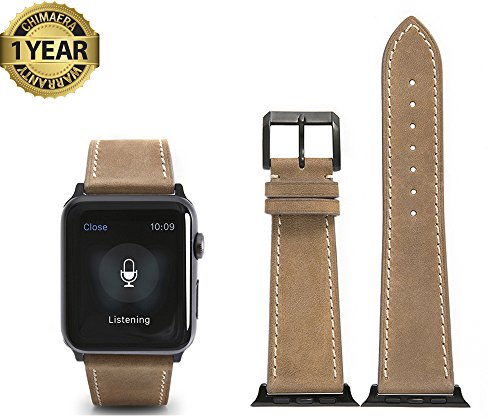 Apple Watch Band 42mm Genuine Calf Leather fit iWatch & Sport & Edition Series 1 Series 2 Series 3 Super Soft Strap Classic Pin Buckle for Women and - Apple Nice