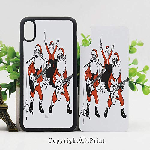 Phone Case Protective Design Santa Claus Rock Band Playing Drums Guitar Father Christmas Show Print Decorative Durable Hard PC Back Phone Cover Compatible for iPhone X,Orange Charcoal Grey