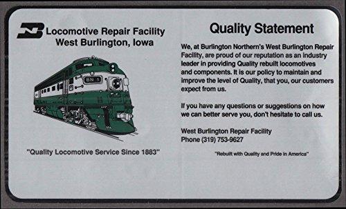 Northern Burlington Locomotive - Burlington Northern RR Locomotive Repair Facility crack-&-peel sticker