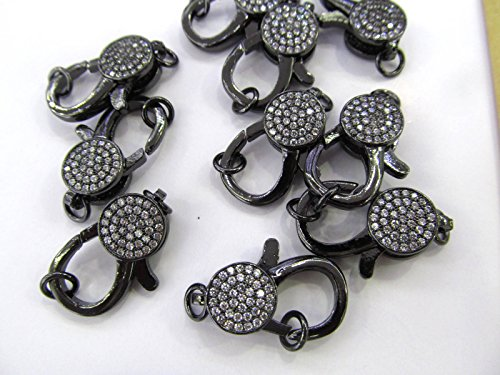 (AAA grade 10pcs 12-50mm Gunmetal CZ Micro Pave Diamond paved Lobster Clasps Jewelry findings Micro Pave Brass rose gold Atique silver)
