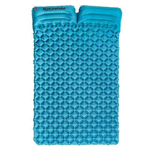 Tapis de camping en plein air avec oreiller Ultra léger Portable 2personnes Matelas gonflable Tapis de couchage double Pad résistant à l'humidité Pad