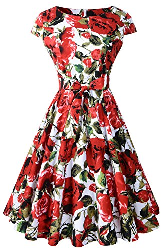 Chicanary 1950s Vintage Cap Sleeve Tea Party Swing Dresses With Belt (XX-Large, Rose) (Rose Dress Floral)