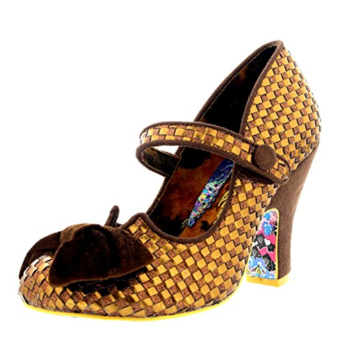 Irregular Choice Womens Fancy This Strappy Party Court Shoe High Heel - Bronze - 7
