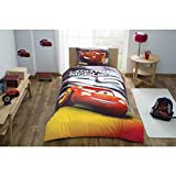 TAC Cars Lightning McQueen Twin/Single Size Duvet Cover Set 3 pcs 100% Cotton Beding Linens for Kids (Cars Red)