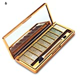 Sporthway Women 9 Colors Waterproof Make UP Glitter Eyeshadow Palette with Brush (Color 6)