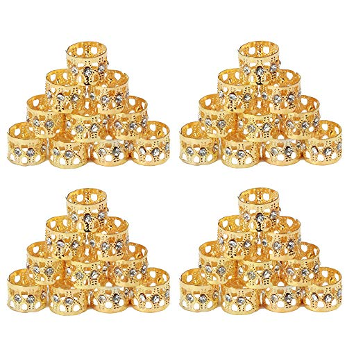 Fani Mixed Golden Silver Dreadlocks Beads Aluminum Dread Locks Metal Cuffs Hair Decoration Braiding Hair Jewelry(Silver and Golden) (40 Pieces)