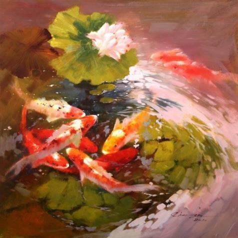 The Perfect Effectキャンバスの油絵` Goldfish in Lotus Pond `、サイズ: 12x 12Inch / 30x 30cm、このアート装飾プリントキャンバスは、フィットのゲームルーム装飾、ホームとギフト