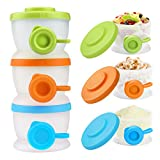 Zooawa Baby Formula Container, Stackable Milk Powder Formula Dispenser and Snack Storage Container For Infant Kids Toddler, BPA Free, 3 Pieces, Medium Color