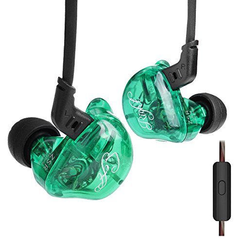 KZ ZSR in-Ear Headphones Earphone HiFi Stereo Bass Earbuds in Ear Monitors with 2 Pins Detachable Cable Noise Isolating Headset with Hybrid Driver (Green with Microphone)