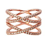 Impression Collection Double X Cross CZ Rings Criss Wedding Party Engagement Statement Micro Pave Clear Cubic Zirconia Cocktails Gold Plated for Women Bridal Size 6-9 (Rose Gold, 7)