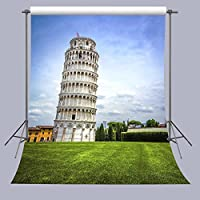 FUERMOR 5x7ft Famous Leaning Tower of Pizza Photography Backdrop Green Grass Scene Studio Video Photo Props A171