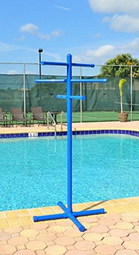 Pool & Spa Towel Rack Blue Premium Extra Tall Towel Tree Outdoor PVC (Pool Towel Tree)