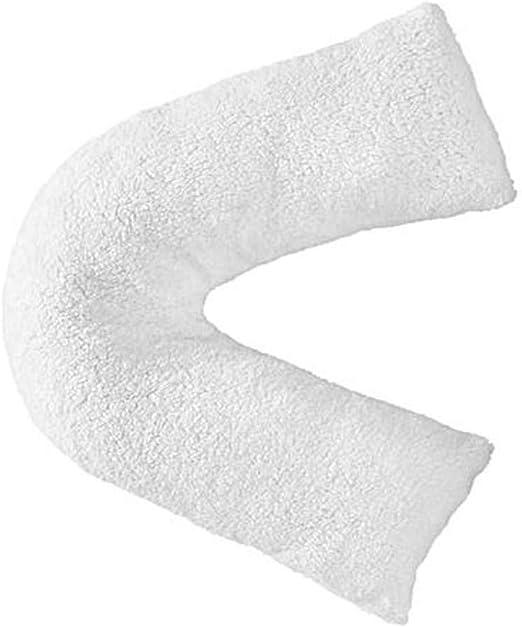 Hendem® Teddy Fleece V Shaped Pillowcase Warm Cosy Plush Modern Bedroom Cuddly Pillow case (White)