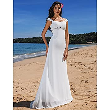 kekafu Vaina / columna Scoop cuello barrer / cepillo tren vestido de novia de gasa con