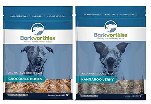 Barkworthies All Natural Hormone Free Dog Chews 2 Flavor Variety Bundle: (1) Barkworthies Crocodile Bones, and (1) Barkworthies Kangaroo Jerky, 4-5 Oz. Ea.