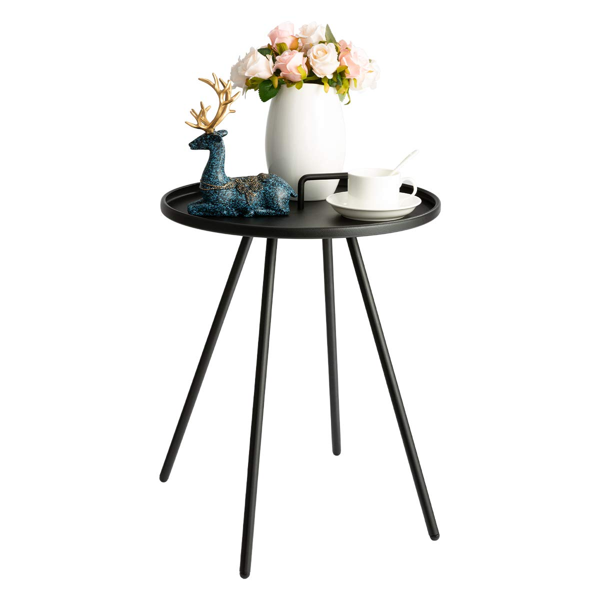 HollyHOME Convenient Patio Steel Side Table with Handle, Accent Small Coffee/Snack Table, Round Metal End Table for Outdoor or Indoor Use, (H) 19.50'' x(D) 16.38'', Black by HollyHOME