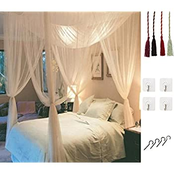 ... Four Corner Post Elegant Mosquito Net Bed Canopy Set Stick hook u0026profession rope for net Screen Netting Canopy Curtains Full/Queen/King  sc 1 st  Amazon.com & Amazon.com: Goplus 4 Corner Post Bed Canopy Mosquito Net Full ...