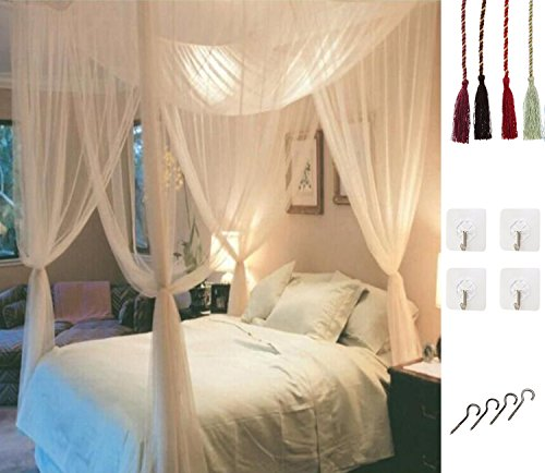 White Twin Canopy - MOSQUITO NET for Double Bed by Comtelek, Four Corner Post Elegant Mosquito Net Bed Canopy Set, Stick hook &profession rope for net, Screen Netting Canopy Curtains, Full/Queen/King
