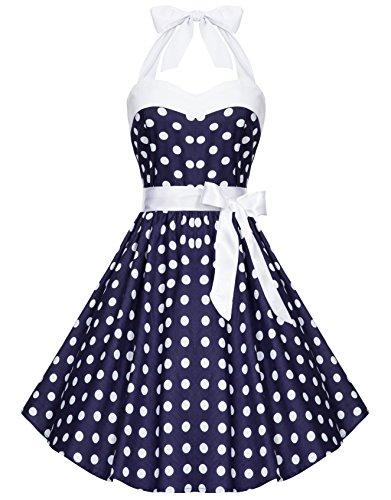 Zarlena - Vestido - cuello hálter - Lunares - Sin cuello - Sin mangas - para mujer Azul Marino