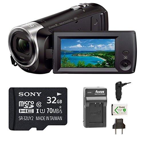 Sony HDRCX440 Handycam HD Camcorder w/ 32GB Micro SD Card &