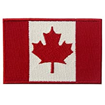 EmbTao Canada Flag Embroidered Patch Canadian Maple Leaf Iron On Sew On National Emblem