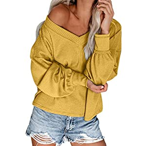GOWOM Women's Fashion Off Shoulder Loose Solid Color Blouses Long Sleeve V-Neck Top