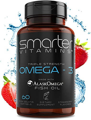 SmarterVitamins OMEGA-3 FISH OIL, made with AlaskOmega®, Strawberry Flavor, TRIPLE STRENGTH, 30 Servings, 2000mg, High DHA EPA Brain Omegas, Burpless, Heart Support, Joint Support, Cognition Support