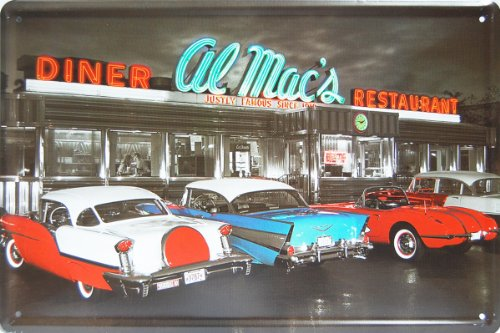 Al Mac's Diner, Historic Restaurant , Metal Tin Sign, Vintage Style Wall Ornament Coffee & Bar Decor, Size 8