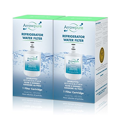 Arrowpure 8171413 Refrigerator Water Filter Replacement Cartridge | Certified According to NSF 42&372 | Compatible with Whirlpool 8171414, 8171787, NL200, 46-9002, ED25CEXJW01, ED25CEXJW00, 2 Pack