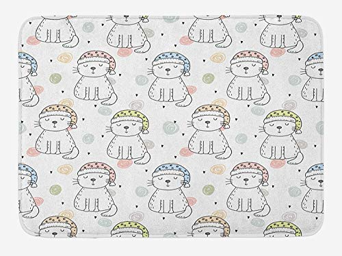 Doodle Bath Mat, Sleepy Cat Colorful Hats Night Time Good Night Cute Animals, Plush Bathroom Decor Mat with Non Slip Backing, 23.6 W X 15.7 L Inches, Baby Blue Pale Pink Pale Yellow