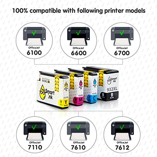 Smart Ink Compatible Ink Cartridge Replacement for HP 932 XL 933 XL 932XL 933XL High Yield 4 Pack (Black & C/M/Y) Ink Cartridges High Capacity for HP Officejet 6600 6100 6700 7110 7610 7612 Printers Photo #2