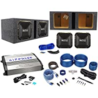 Package: (2) Hifonics BRZ12SQD4 12 Dual-4-Ohm Square-Design Car Audio Subwoofers Totaling 2400W + Class D Mono Car Amplifier + Wire Kit W/ Rca Cables + Vented Square Sub Enclosure + Wire Kit