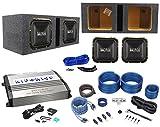 "Package: (2) Hifonics BRZ12SQD4 12"" Dual-4-Ohm Square-Design Car Audio Subwoofers Totaling 2400W + Class D Mono Car Amplifier + Wire Kit W/ Rca Cables + Vented Square Sub Enclosure + Wire Kit"