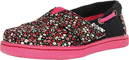TOMS Kids Baby Girl's Bimini Espadrille (Infant/Toddler/Little Kid) Pink Ditsy Floral/Burlap Sneaker 9 Toddler M -