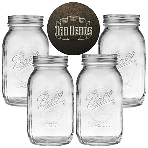(Ball Mason Jars 32 oz Bundle with Non Slip Jar Opener- Set of 4 Quart Size Mason Jars with Regular Mouth - Canning Glass Jars with Lids, Heritage Collection)