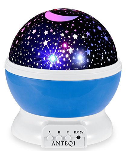 Sun And Star Lighting Lamp 4 LED Bead 360 Degree Romantic Room Rotating Cosmos Star Projector With 59 Inch USB Cable, Light Lamp Starry Moon Sky Night Projector Kid Bedroom Lamp for Christmas (Blue) by ANTEQI
