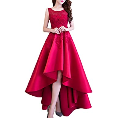 07dc7a671a4 Elegant Lace Satin Evening Dresses Womens Long Back Front Short Round-Neck  Sleevless Wedding Bridesmaids