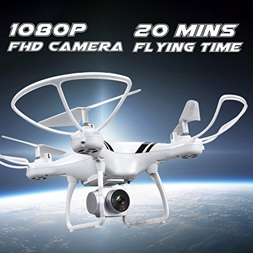KUSOII Drone with Camera Live Video for Kids Beginners 20 Minutes Flying Time FHD 1080p 110° Wide Angle Len Camera VR Quadcopter Toy with Mobile Control Altitude Hold White by KUSOII