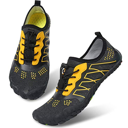 Centipede Demon Mens   Wide Toe Box   Surf Water Shoes Quick Dry Barefoot for Swim Beach Black Yellow Women 8.5 M/Men 7 M