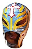 Main Street 24/7 WWE Licensed Rey Mysterio Youths Kid Size Light Blue With Yellow Trim Leather Pro Grade Mask