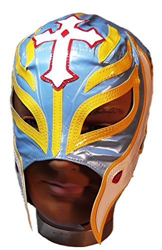 Main Street 24/7 WWE Licensed Rey Mysterio Youths Kid Size Light Blue With Yellow Trim Leather Pro Grade Mask by Main Street 24/7