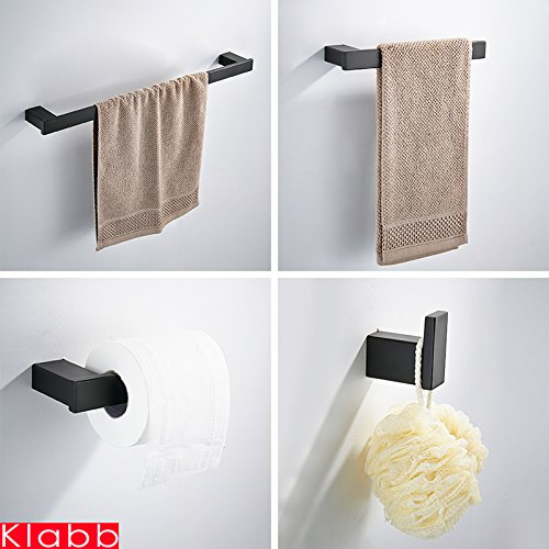 Klabb 4-Piece ss304 Bathroom Hardware Accessory Set 24'' Towel Bar -Matte Black by Klabb