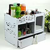 FLHSLY Mirror Waterproof Cosmetic Storage box Drawer style Desktop Storage box Multifunction Cosmetic case storage Desktop
