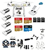 DJI Phantom 3 Professional (Pro) 4K Video Camera EVERYTHING YOU NEED Kit + 4 Total DJI Batteries + Snap on Guards + 3 64GB U3 SD Cards w/Reader + Carry System w/Harness
