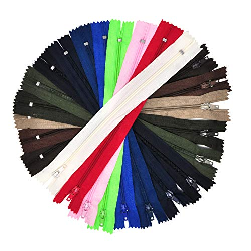 Mandala Crafts Colored Nylon Coil Zippers for Sewing, Handbag, Purse Making, Clothing, Wholesale Pack of 100 (8 Inches, Assorted Color) by Mandala Crafts